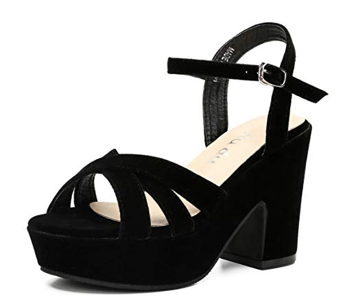 rm Sandals Peep Round Toe Chunky Heeled Pumps Shoes Black Velvet Size US 7 EU 38 ()