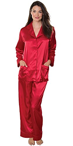 PajamaGram Women 's Ruby Red Satin Pajamas w/ Button-Up Top and Pants Red Medium / 8-10