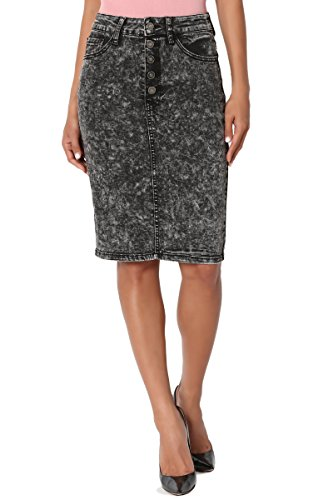 TheMogan Women's Acid Wash Jean High Waist Midi Pencil Denim Skirt Black L