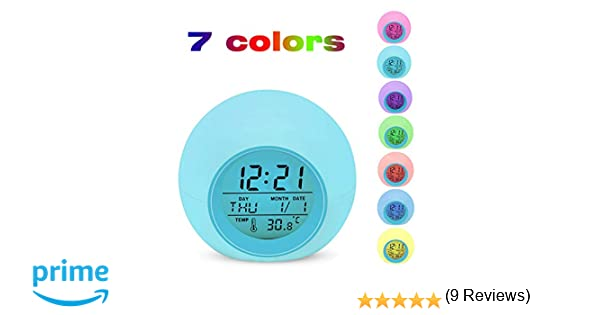 Despertador Digital Electrónico, Lypumso Reloj Alarma con 7 Colores Luz de Noche, Pantalla LED con Hora, Fecha, Temperatura, Función Snooze [Regalo]: ...
