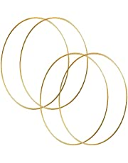 HOHIYA 19 inch Large Metal Floral Hoop Wreath Gold Ring Macrame Dream Catcher Craft Round Brass Plated (Pack of 4)