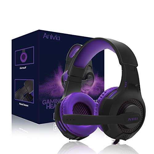 PC Gaming Headsets PS4 Headset for Xbox One - AH68 Wired Stereo Over Ear Gaming Headphone with Microphone for PC Computer, MAC Laptop, Playstation 4, Xbox one Controller, Phones,Tablet, PSP, Purple