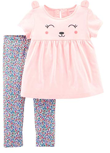 Carter's Girls' 2-Piece Top and Legging Sets (Pink Bear/Floral, ()