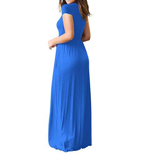 Longue Longueur Femmes Avec Robe Plage À De Bleu Col Soirée Solide Chic Rond Poches Au Lâche Angelof Sol Volants tw6SFqxt