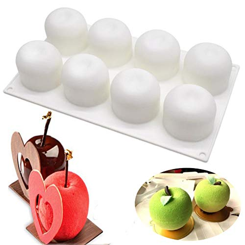 Apple Mold Silicone - SAKOLLA Apple Shape Silicone Mousse Cake Mold, Chocolate Desserts Molds,French Dessert Pastry Baking Bakeware