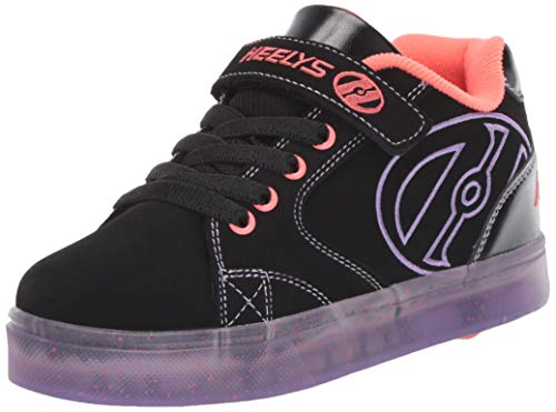 Heelys Girls' Vopel X2 Tennis Shoe, Black/Purple/Papaya/Speckle, 2 M US Little Kid