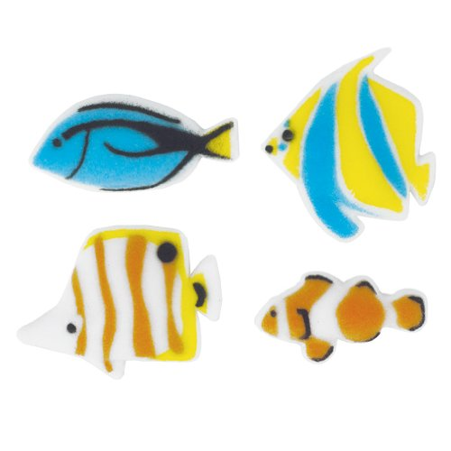 Lucks Dec-Ons Decorations Molded Sugar/Cup-Cake Topper, Reef Fish Assortment, 1 1/4-1 1/2 Inch, 96 Count