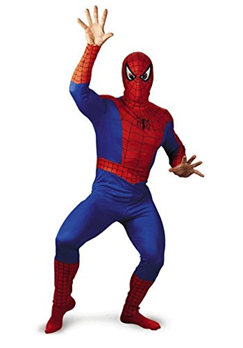 Morris Costumes Men's SPIDER-MAN ADULT COSTUME, Red/Blue/Black, 46 (Mens Black Spiderman Costume)
