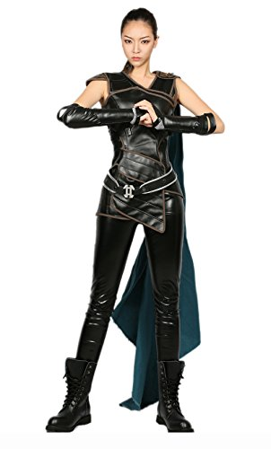 Valkyrie Costume Women Cosplay Fancy Dress with Accessories PU Tops Belt Black]()