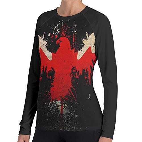 Crazy Popo Women's Casual Leaf Eagles Canada Flags Long Reglan Jersey Baseball T-Shirt