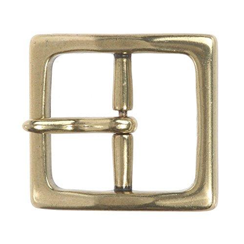 (MONIQUE Men Nickel Free Center Bar Single Prong Square 1.5'' Wide Belt Buckle,Antique Brass One)