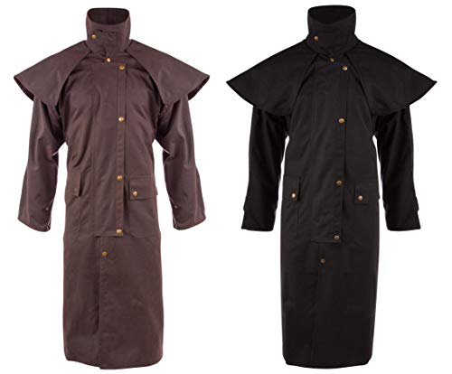 AceRugs Brown Black Australian DROVER Western Oilskin Duster Jacket Waterproof Coat (Brown, 2XL) ()
