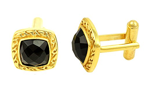 Fadkart Men's 22K Gold Plated Brass Black Onyx Stone Cufflink (Yellow) ()