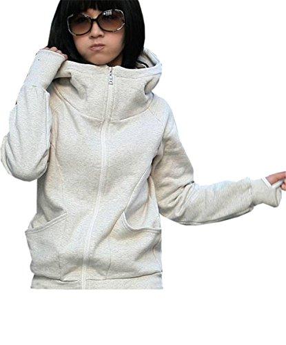 Automne de manteaux Gris à manches Vestes Sweats Capuche longues des à À sport Tops Casual vêtements Parka Coco de capuchon de sport de femmes College 77HwqIS