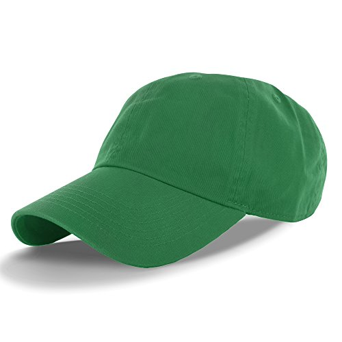 Plain 100% Cotton Hat Men Women One Size Baseball Cap (30+ Colors) Green,One Size