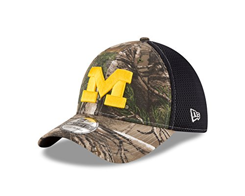 NCAA Michigan Wolverines Men's Realtree Neo OTC 39Thirty Stretch Fit Cap, Medium/Large, Navy - Michigan Wolverines Camo