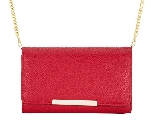 J Goodin Laney Red Pebbled Faux Leather Clutch with Gold Chain Strap from JGOODIN