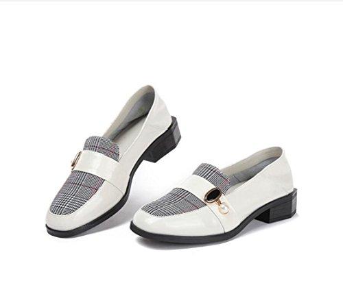Una Grueso de Zapato Perezoso Blanco Mujer Pedal de Zapatos con Usar Fáciles Sola un con Moda 55xnUIB
