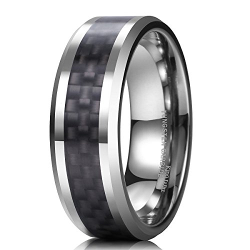 King Will Men's Black Tungsten Carbide 8mm Carbon Fiber Inlay Comfort Fit Wedding Band Ring 8.5