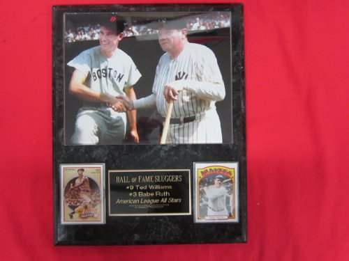 Ted Williams Babe Ruth RARE 2 Card Collector Plaque w/8x10 VINTAGE COLORIZED - Figurine Williams Ted