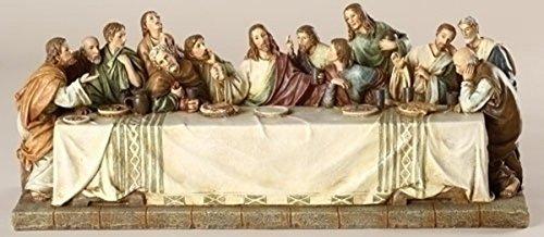 (The Last Supper Renaissance Design Jesus with 12 Disciples 11 x 4.5 Inch Stone Statue Figurine)