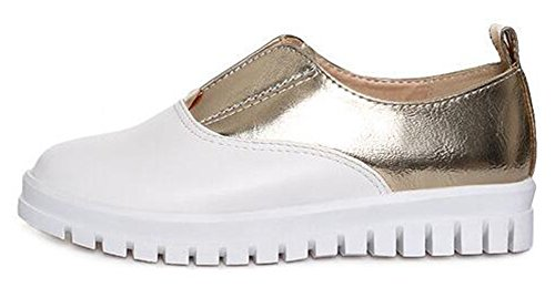 Sneakers Easemax Womens Toe Gold On Slip Chic Round Womens Easemax UUnqO8B1