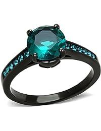 2.16Ct Blue Green Zirconia Black Stainless Steel Engagement Ring Women's SZ 5-10
