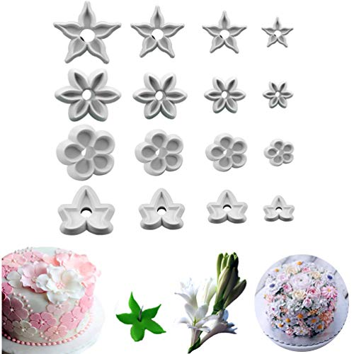 Bozoa Petal Cutters - 3D Flower Fondant Cutters 4 Different Types Plastic Calyx Sugarcraft Cutters for Cookie Cake Decorating DIY Baking Tools (16 pcs)