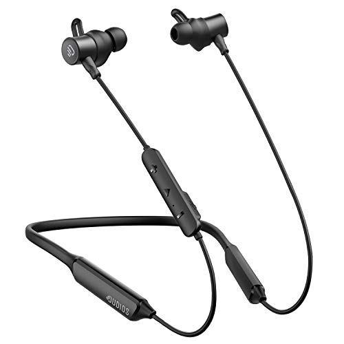 Dudios Neckband Bluetooth Earbuds, IPX7 Sweatproof Wireless Headphones apt-X Deep Bass 16 hrs Playtime, Built-in Magnetic, CVC6.0 Noise Cancellation Black
