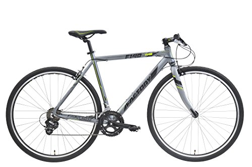 CLEARANCE SALE - Factory Flat Bar Road Bike F140-700C,C-T:52cm,14SP,GREY/BK/YELLOW