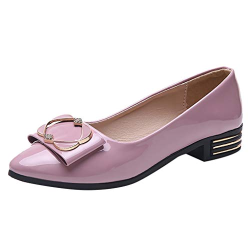 Nadition Fashion Low Heel Pump ❤️️ Fashion Women Patent Leather Pumps Casual Single Shoes Flat Wedding Office Shoes Pink