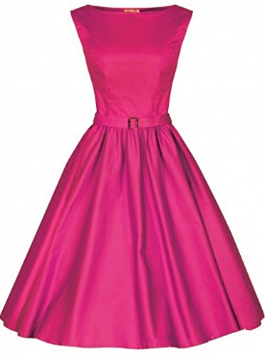 40 Women Pink 1950s Dress Classic Out Black Vintage Abito Evening 44 42 and senza maniche Aimerfeel Retro YwRq6A4x