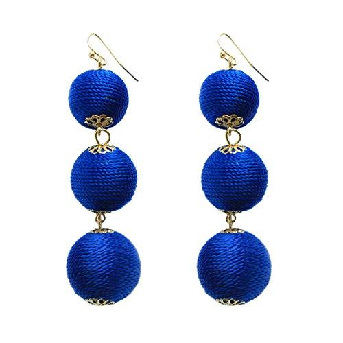 lls Earrings Wire Wrapped Dangling Drop Big Beaded Tassel Earrings for Women ()