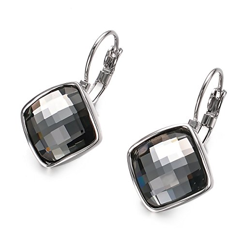 VOGEM Silver 18K Gold Plated Leverback Earrings With Grey Large Crystal Dangle Drop Earrings For Womens