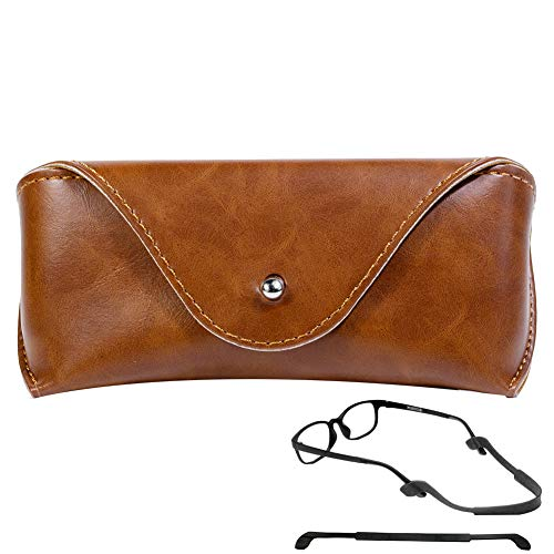 CoxFox Eyeglass Cases for Women and Men, Soft Faux Leather Reading Glasses Case, Semi Hard Slim Spectacle Case Sunglasses Box (Brown) (Reading Glasses Case Leather)