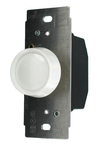 Leviton 705-W Push On-Off Single Pole, 600W, 120V AC Trimatron Rotary Dimmer, White knob