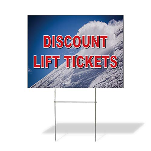 - Plastic Weatherproof Yard Sign Lift Tickets Business Snow Ski Resorts Red for Sale Sign Multiple Quantities Available 18inx12in One Side Print One Sign