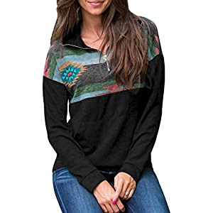 AlvaQ Women Quarter Zip Color Block Pullover Sweatshirt Tops with Pockets(9 Colors,S-XXL)