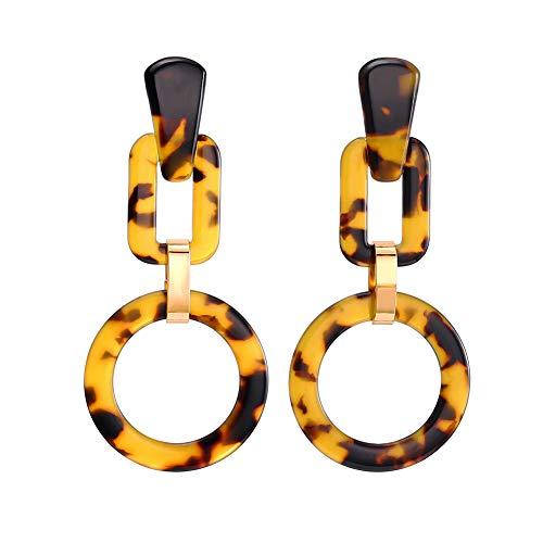 FAMARINE Tortoise Shell Square Circle Drop Earrings, Geometric Mottled Acrylic Stud Drop Earring for Girls Women