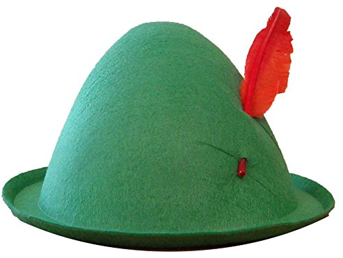 [Economy Alpine Hat with Feather,Green,one size] (Elf Hats For Adults)