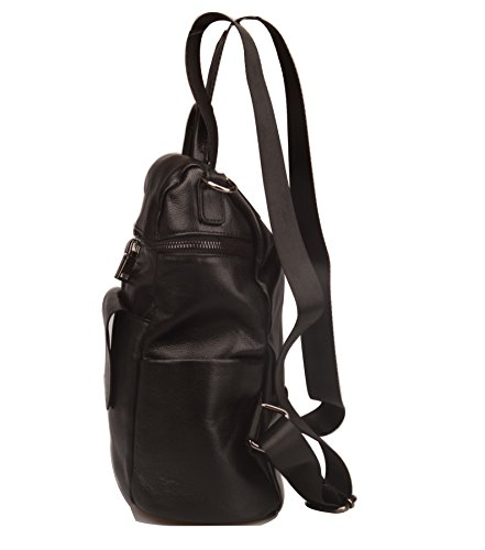 Fiswiss Women's Genuine Leather Fashion Backpack School Backpack Purse Handbags (Black) by Fiswiss (Image #3)