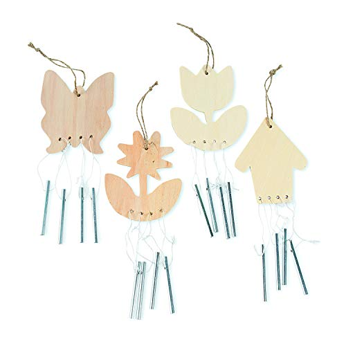 Fun Express - DIY Wood Spring Wind Chimes for Spring - Craft Kits - DYO - Wood - Misc DYO - Wood - Spring - 12 Pieces -