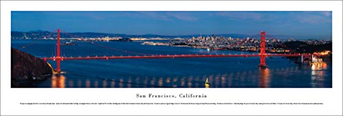 Picture Frame Nhl Horizontal (San Francisco - Golden Gate at Night - Blakeway Panoramas Unframed Skyline Posters)