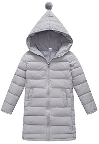 110 Cm Hood (SLUBY Kids Down Coat Warm Ultral Light Parka Feather Puffer Jacket Outwear With Hood Gray 3-4Y 110CM)