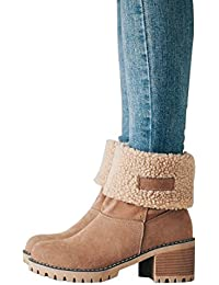 Women Cute Warm Short Boots Suede Chunky Mid Heel Round...