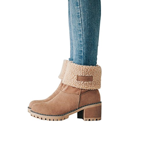 DOTACOKO Women Cute Warm Short Boots Suede Chunky Mid Heel Round Toe Winter Snow Ankle Booties ()