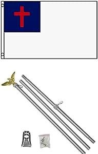 3x 5bandera de Christian W/6de aluminio poste Kit