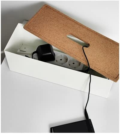 Ikea New KVISSLE Kabel Management Box, Kork, weiß: