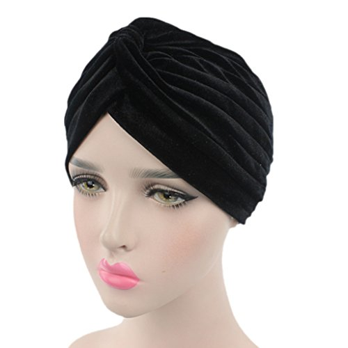 - beauty YFJH Pleated Stretch Ruffle Women's Velvet Chemo Turban Hat Wrap Cover (Black)