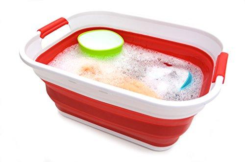 SAMMART Collapsible Plastic Storage Basket for Trunk of Car - Foldable Pop Up Storage Container/Organizer - Portable Washing Tub - Space Saving Hamper/Basket (Red) …